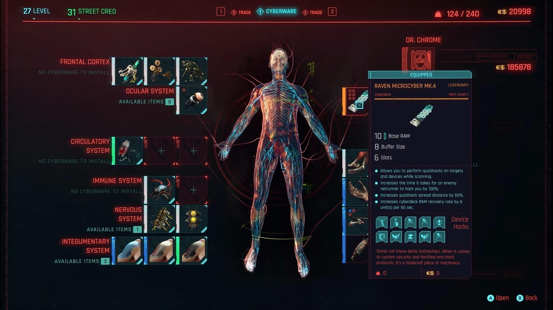 cyberpunk menu